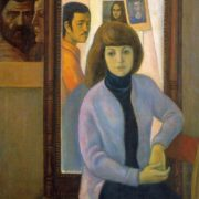 Self-portrait. (Artist and model). 1977. Oil, canvas.Orenburg Regional Museum of Fine Arts