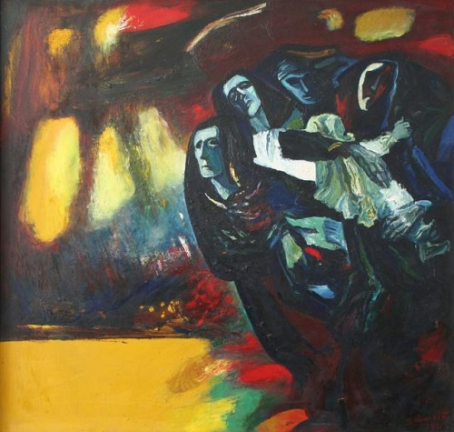 Silvestras Vintsevich Dzhyaukshtas (born 1928). Refugees - II. 1969-1981. Oil on canvas