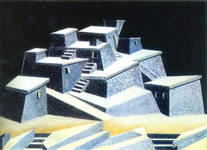 Sketches of scenery for the play Anzor. Watercolor, gouache. Georgian Theater named after Shota Rustaveli. Tbilisi. 1928. Irakly Gamrekeli (1894-1943)