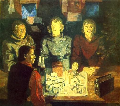 TA Chepikova (Leningrad). New Year. 1980-1981. Canvas, oil