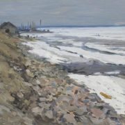 The North Dvina in spring (the beginning of navigability). Arkhangelsk. 1954. Oil on canvas