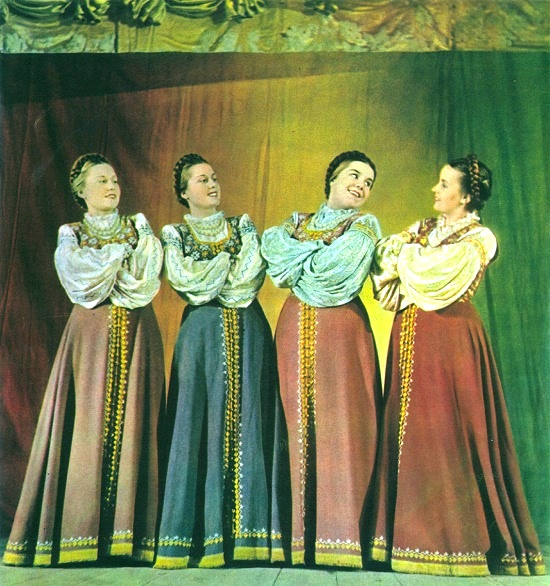 The Soviet Union, 1953 magazine. Photo B. Utkin. The Soviet female vocal ensemble Fyodorov Sisters on the stage