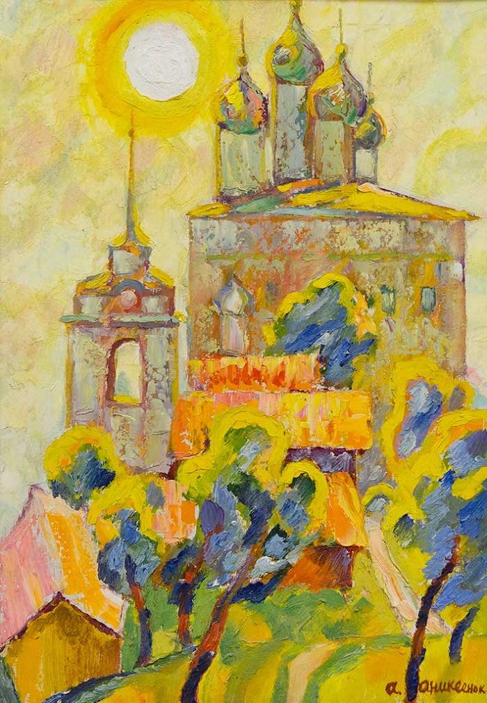 Trinity Cathedral of the Pskov Kremlin. 1960's. Canvas, oil