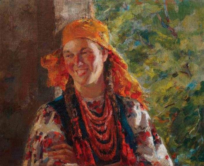 Ukrainian girl in a yellow shawl