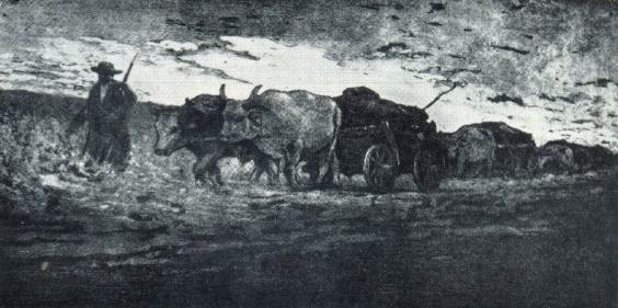 V. Kh. Zauze. Chumaks. Etching. 1929
