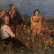V. Lipunov. Evening in the steppe. Diploma works of students of art colleges of the USSR. All-Union Exhibition of 1958