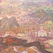 V. Semenikin. Town of miners. Artist Vladimir Semenikhin. Oil, canvas, 1974