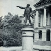 V. V. Kozlov. Monument to Lenin at Smolny building in Leningrad. Bronze, granite. 1927