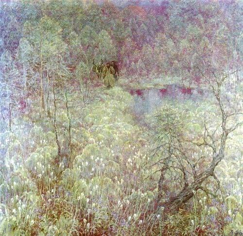 VR Franz (Leningrad). Cotton grass flowers. 1981. Oil on canvas