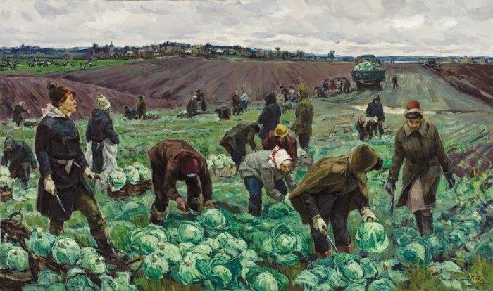 Vasily Boricenkov. Gathering cabbage. 1958