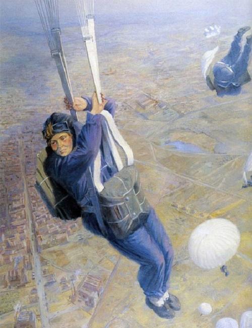 Viktor Proshkin (1906-1983). Paratroopers (in the air). 1937