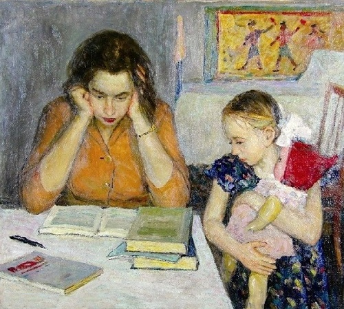 Vladimir Kochunov (1929-2011) Mom preparing for an exam