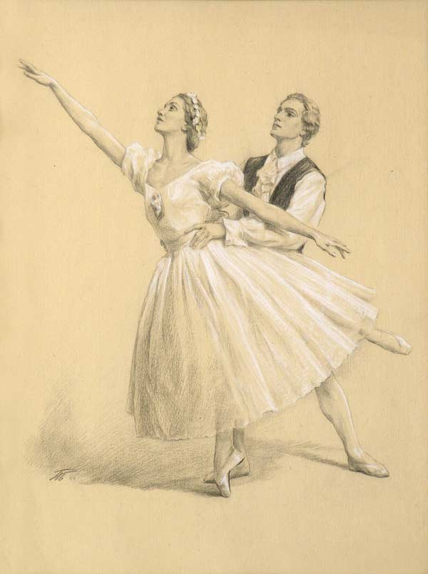 Waltz. 1960. Ballet dancers E. Mechenok and V. Semenov. Cardboard, pencil, chalk