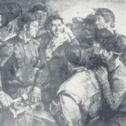Yu. Lobuznov. Kuzbass miners. Oil, canvas. 1974
