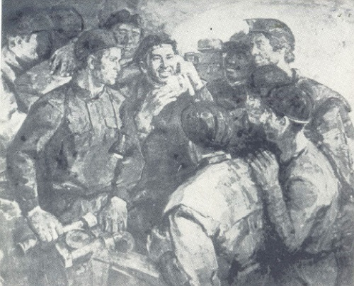 Yu. Lobuznov. Kuzbass miners. Oil, canvas. 1974