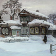 Yu.B. Obidientov. The old manor house in Tomsk. Canvas, oil