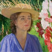 Galya with gladioluses. 1976