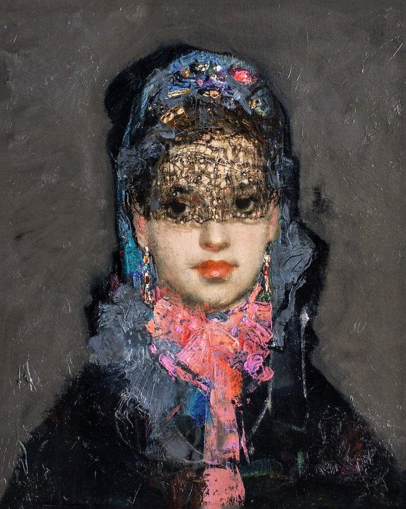 Portrait of a girl. Artist Sakit Mamedov (born 1949)