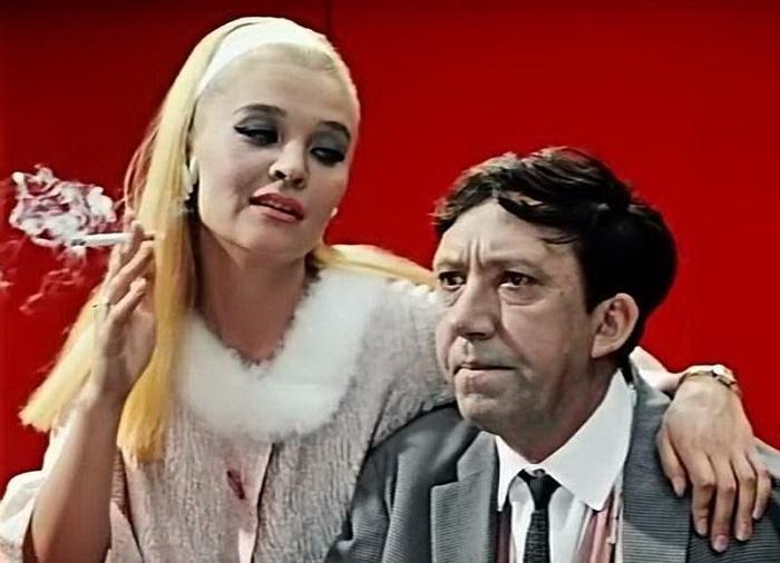 Beautiful Soviet actress Svetlana Svetlichaya and Yuri Nikulin in 'Diamond hand'