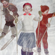 Children skiing. Poster. 1934