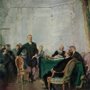 Lenin at the university exam. 1947. Oil