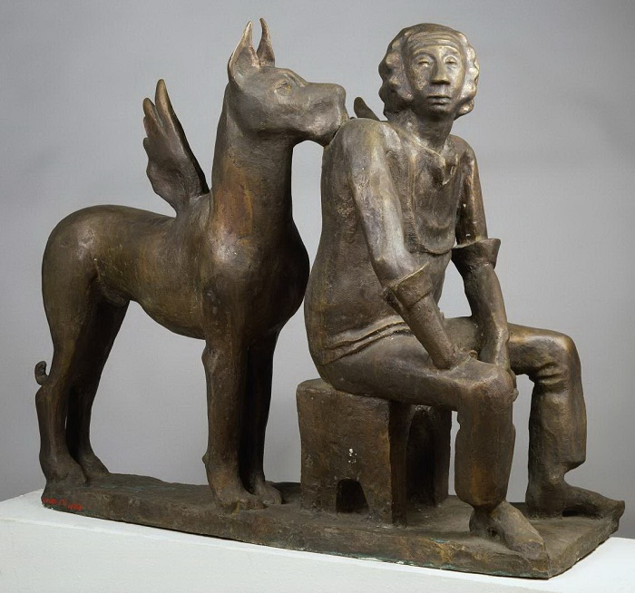 Sculpture by Adelaida Pologova 'Art critic V.A. Lebedev and his Muse'. 1981. Bronze