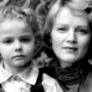 With her son Alexandr