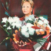 Woman with flowers, portrait