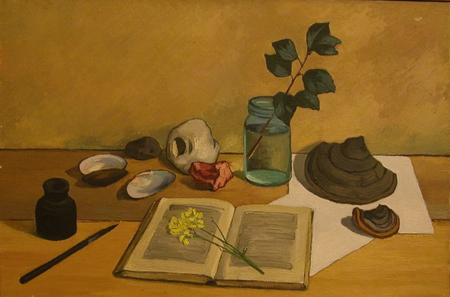 1958 Still life with a hat and book