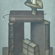 A book and a candle in a bent candlestick. 1971. Hardboard, oil