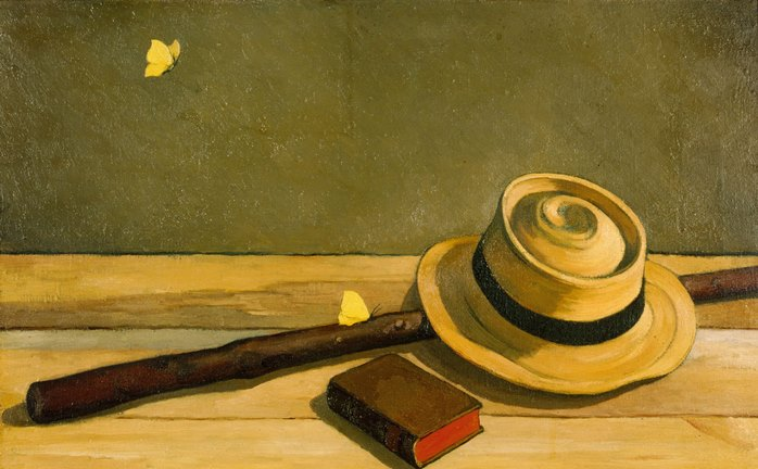 A hat and a stick, still life. 1950s