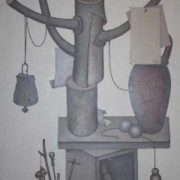 A trunk with branches, a bowl, a jug and paper sheets. 1978. Oil on canvas