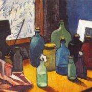 In the artist's studio. 1949. Cardboard, oil