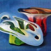 LA Kuchinskaya (born 1944 Vishny Volochek). Decorative vases 'Sea'. 1975. Sulfide Glass, free-blown equipment