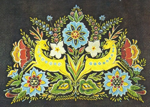 MK Mukha Panels Deer and flowers. Chernigov Oblast, Ukrainian SSR