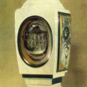 N. Slavina (Leningrad). Vase 'The old house is'. Dedication to AA Blok. 1981. Porcelain, painted