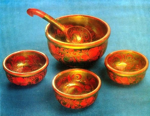 OP Lushina (Syomino, Gorky Region). Set for okroshka. 1980 Wood, painting, varnish