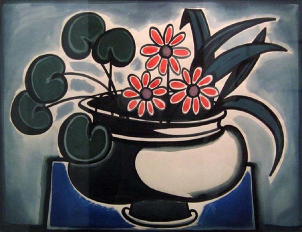 Pot with flowers. Watercolor