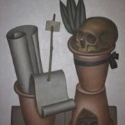 Still life with flower pots and skull. 1975. Hardboard, oil