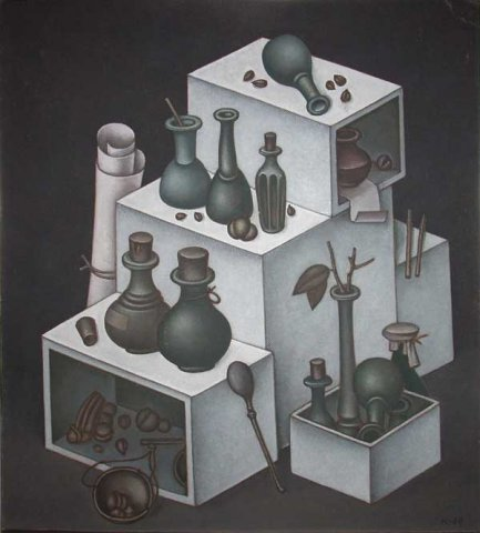 White boxes. Pharmacy. 1969. Hardboard, oil