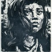 Ya. N. Manukhin. A girl from Hiroshima. This should not happen again. 1958. Engraving on linoleum