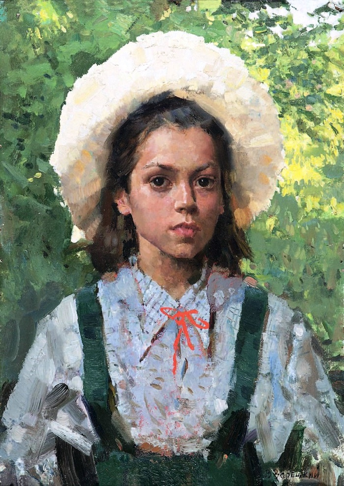 A girl in a hat, portrait