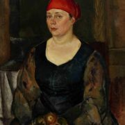 A woman with apples. Portrait