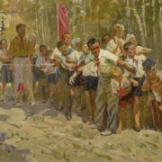 At the finish line. Oil, canvas, 1955