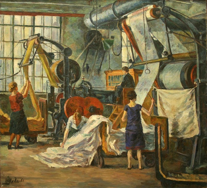 At the textile factory, 1927