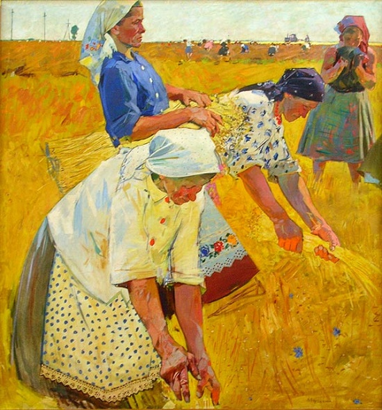 Selection of flax. (Portrait of a team leader P. Syrovatko). 1960. Tempera. Soviet artist Viktor Ivanovich Zaretsky 1925-1990