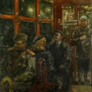 First days of peace. In the tram. 1946