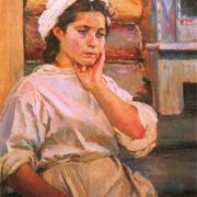 Nurse in a spare minute. Oil. 1945. The State Tretyakov Gallery