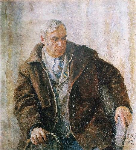 Portrait of Soviet Ukrainian artist Evgeniy Volobuev (1912-2002). Painting by Soviet artist Tatyana Yablonskaya (1917-2005)