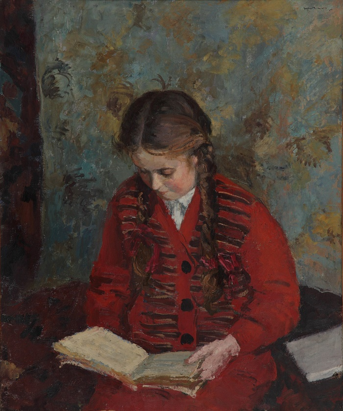 Reading a book (the artist's daughter, Elena). 1935